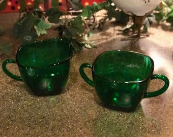 Anchor Hocking Forest Green Vintage Cream and Sugar set  - 1950's