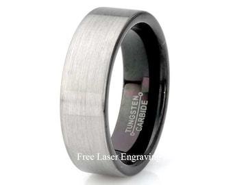 Tungsten Carbide Wedding Band, Mens Wedding Band, Black Tungsten Ring, Mens Brushed Ring, 7mm Mens Band