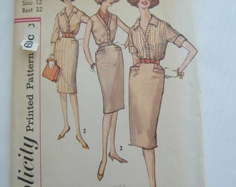 Simplicity Pattern 3516, Misses' Skirt and Blouse, Size 12, Bust 32