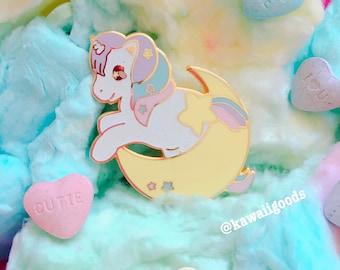 Sweetie Dreams Shooting Star Moon Enamel Pin brooch, Fairy Kei Pin
