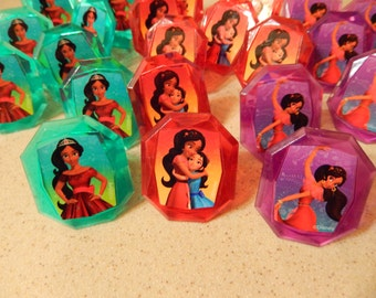 24 Elena of Avalor Cupcake Cake Topper Rings Birthday Party Decoration