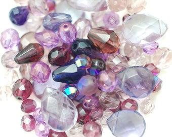 Destash Glass Beads, Sale Beads, Mixed Lot, Destash Bead Mix, Assorted Lot, violet, purple, lavender, lilac, plum, shimmer,  luster, 100pc.