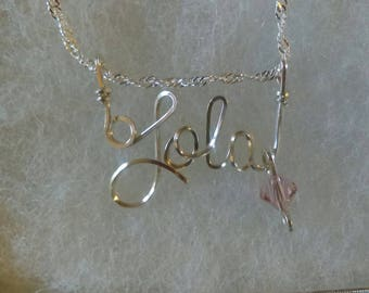 LOLA   or ANY Wire Name in your choice of metals teen gift tween gift personalized gift unique gift wire name jewelry