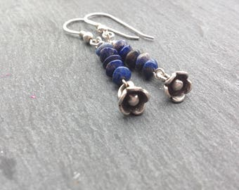 Lapis lazuli earrings/Karen Hill Tribe silver/Sterling silver/flower charm/drop earrings/September birthday/gift for her