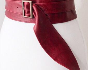 Dark Red Leather Obi Buckle Belt | Red Buckle Belt | Red Corset Belt | Leather Buckle Belt | Plus Size Belts | Wide Buckle belt | Cinch Belt