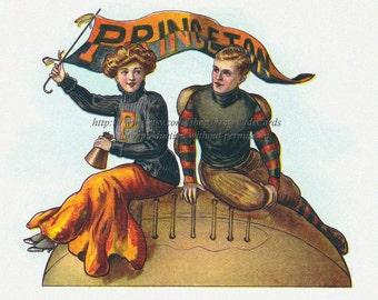 Princeton Football - Cheerleader and Player 5 x 7 Print