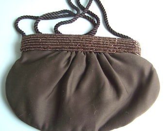 Vintage brown sateen beaded evening bag or purse with shoulder strap