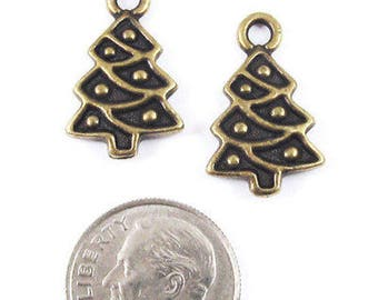 TierraCast Pewter Charms-Brass Oxide Christmas Tree (2)