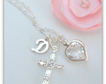 Crystal Cross Pendant - Cross Necklace - Diamond Cross - Diamond Heart - April - First Communion Gift - Gift for Goddaughter - N083