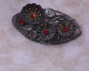 large vintage poppy broach