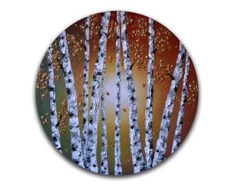 White Birch Tree Painting,  Contemporary Art, Abstract Aspen Tree wall art, original painting