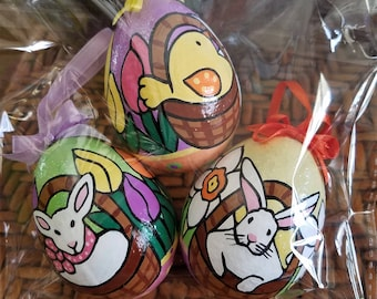 Easter Egg- Set of 3, hand painted Easter egg ornaments. Lamb in a Basket, Bunny in a Basket & Chick in a Basket.