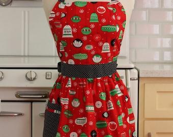 Retro Apron Christmas Ornaments on Red - CHLOE