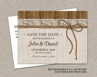 Printable Rustic Wedding Save The Date Postcard, Burlap Wedding Save The Date Postcard, Burlap And Lace Wedding Save The Date Postcard