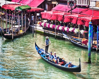 Italy Travel, Venice Italy, Italy Photo, Grand Canal Print, Venice Gondola, Trattorias, Red Awnings, Red White Flowers, Venice Decor