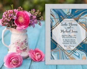 Blue Marble and Gold Wedding Collection / Art Deco Wedding / Art Nouveau Wedding Invitation PRINTABLE / DIY