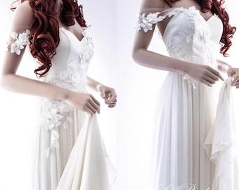 Bohemian Wedding Dress/ Unique Beach Wedding Dress/ Simple Silk Wedding Dress/ Fairy Wedding Gown/ Cup sleeve Wedding gown