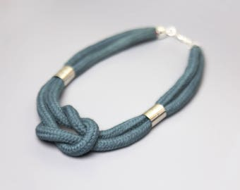 Petrol & Silver - Knotted cord necklace in electric blue with beads