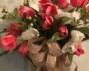 Umbrella Wreath, Tulip Wreath, Spring Wreath, Baby Shower Gift, Nursery decor, Mothers Day Gift, Front Door Wreath, Bathroom Decor, Bedroom