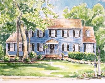 Custom House Portrait  - Original Watercolor