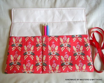 Colouring Pencil Roll, Flamingo Fabric, Pen Roll, Pencil Holder, Pencil Wrap, Pencil Pouch, Pencil Case, Brush Roll, Flamingo Gift,