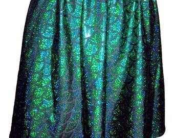 Mermaid Skater Skirt, Festival Clothes, Mermaid Skirt, Mermaid Scale Skirt, Mermaid Full Skirt, Mermaid Circle Skirt
