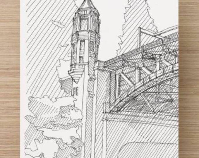 Ink Sketch of Montlake Bridge in Seattle, Washington - Drawing, Art, Draw Bridge, Pen and Ink, Trees, Architecture, 5x7, 8x10, Print