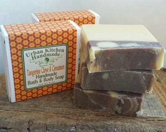 Tangerine Clove w/ Cinnamon/Handmade  Soap,  Cold Process Soap, Natural Soap, Artisan Soap,Urban Kitchen,