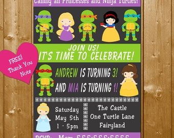 Princess and Ninja Turtles Invitation Sibling Birthday Invitations Brother and Sister Birthday Party Invitation