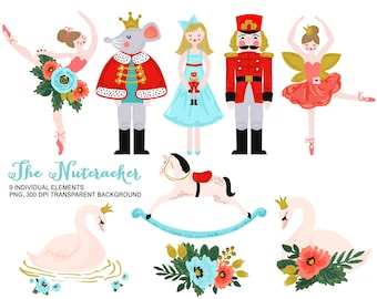 Nutcracker Clip Art - Personal and Commercial use, Nutcracker Clipart, Vintage Toy Christmas Ballet Watercolor Clipart, Swan Graphic