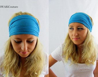 Turquoise Blue Yoga Headband, Stretchy Cotton Jersey Wide Headband Women's Workout Yoga HeadBand Hair Wrap - Choose Your Color