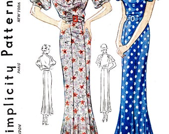 1930s dress vintage sewing pattern reproduction // 2 styles // flutter sleeves // collar interest // bust 38