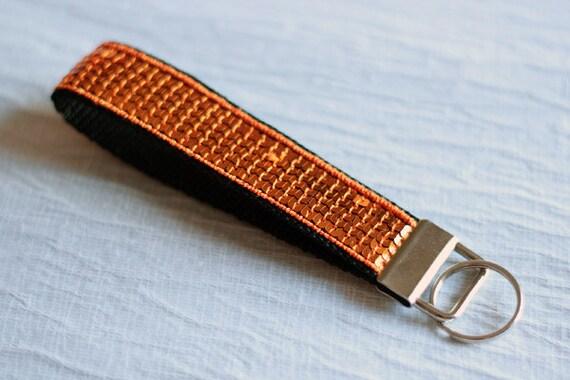Wrist keychain - wristlet - orange - sequins - glitter - paillettes - useful - Sparkle