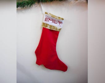 Personalized Custom Embroidered Victorian Boot Stocking, Handmade, Christmas, Holiday, Decor, Gift, Made to Order