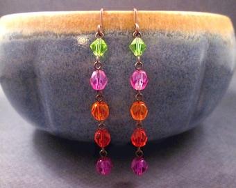 Long Copper Earrings, Rainbow Beaded Earrings, Purple Red Orange Pink and Green Dangle Earrings, FREE Shipping U.S.