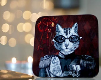 Steampunk Cat Coasters - Set of 4 - Vintage Steam Punk Victorian Military Cogs - Kitsch Republic