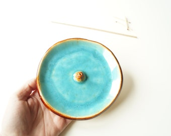 Turquoise Incense Holder, Incense Stick Burner, Ceramic Incense Holder, Incense Bowl, Incense Stick Stand, Meditation, Yoga, Aromatherapy