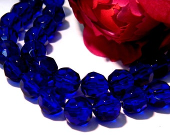30 glass beads-10 mm - round faceted glass bead - faceted - royal blue, Midnight Blue - H77 glass faceted
