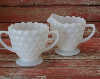 Fire King Anchor Hocking Bubble Cream and Sugar Set