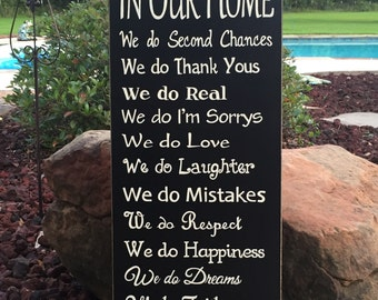 "In Our Home Sign, We do Family, Inspirational Sign - 12"" x 28"" SignsbyDenise"