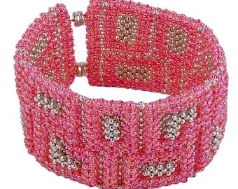 Glass bead bracelet Pink, extra-wide
