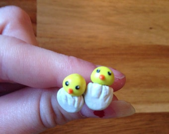 Chicks hatching out of eggs earrings