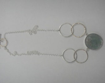 Ladies Ancient Roman Glass Necklace, 925 Sterling Silver Necklace, Filled Gold Necklace, Unique Jewelry