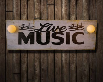 Live Music Illuminated Sign (Lighted Sign // Vintage // Relic // Patina // Wall Decor // Home Lighting // ACME Feed Nashville)