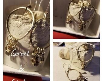 Garnet and Sterling Earrings