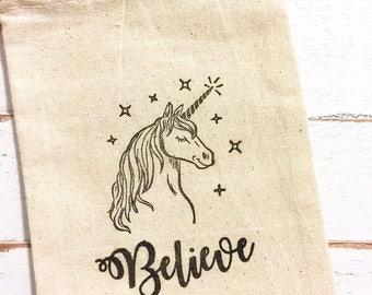Unicorn Favor Bags - Set of 10 4x6 double drawstring bags