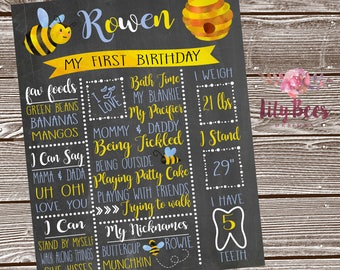 Bee First Birthday Chalkboard