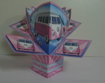 VW Campervan Pop Up Card