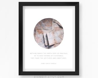 Latitudes and Longitudes, Henry David Thoreau, Long Distance Friendship Quote, Literary Print, Poetry, Quote Print, Literary Art