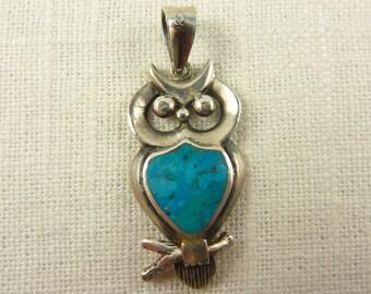 OBO - Vintage Sterling Turquoise Owl Pendant